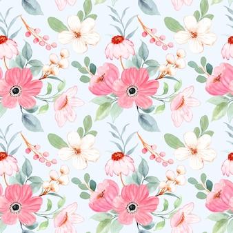 Бесшовный фон из белых розовых цветочных акварелей