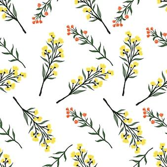 섬유 디자인을 위한 노란색과 주황색 야생화의 원활한 패턴