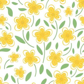 흰색 바탕에 노란색 데이지의 완벽 한 패턴