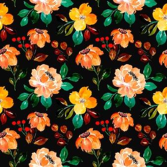 黒の背景と黄色の花の水彩画のシームレスなパターン