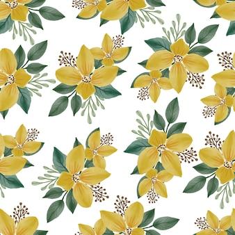 生地と背景のデザインのための黄色い花のシームレスなパターン