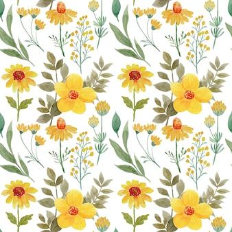 Бесшовный фон из желтого цветка с акварелью