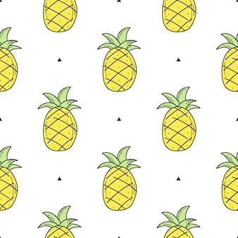 디자인을 위한 노란색 손으로 그린 파인애플의 매끄러운 패턴입니다. 인쇄, 섬유, 포장을 위한 흰색 배경의 끝없는 패턴