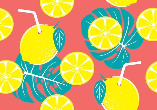 黄色いレモンと熱帯の葉のシームレスパターン