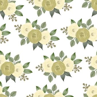 배경 및 패브릭 디자인을 위한 노란 장미 꽃다발의 원활한 패턴