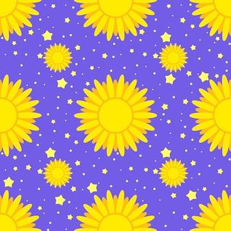 Бесшовные узор из желтых солнц на фоне звезд и голубого неба