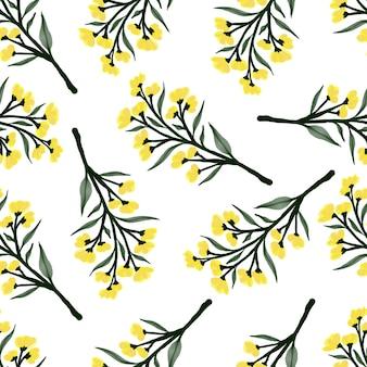 직물 및 배경 디자인을 위한 노란색 야생화의 원활한 패턴