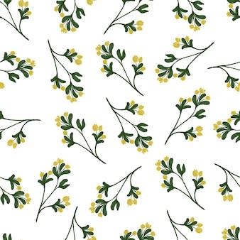 生地と背景のデザインのための黄色い野花のシームレスなパターン
