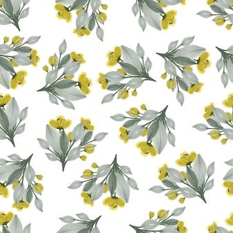 패브릭 디자인에 대 한 노란색 야생화의 완벽 한 패턴