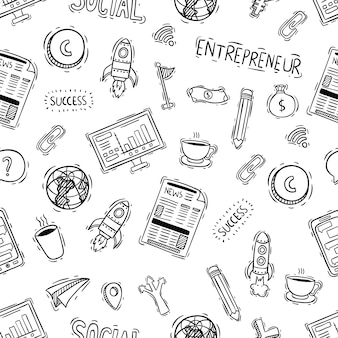 Seamless pattern of office or business objects with doodle style
