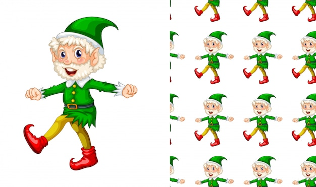 Seamless pattern of old elf