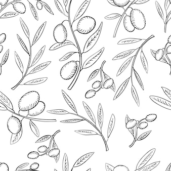 Seamless pattern olives and olive branch with leaves on white