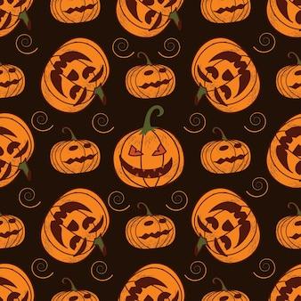 휴일-할로윈에 어두운 배경에 완벽 한 패턴입니다. 호박, 유령, 박쥐. 벡터 일러스트 레이 션.