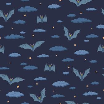 紺色の背景にシームレスなパターン。コウモリは夜空を飛ぶ。星と雲。ハロウィーン。フラットスタイルのベクトルイラスト。包装紙、テキスタイル、デザインに