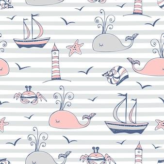 Бесшовный узор на полосатом сером фоне морской тематики. вектор.