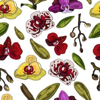 Бесшовный узор на белом фоне из цветущих орхидей. нежный абстрактный цветочный принт.