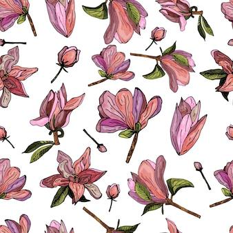 Бесшовный узор на белом фоне из цветущих розовых магнолий. нежный цветочный принт.