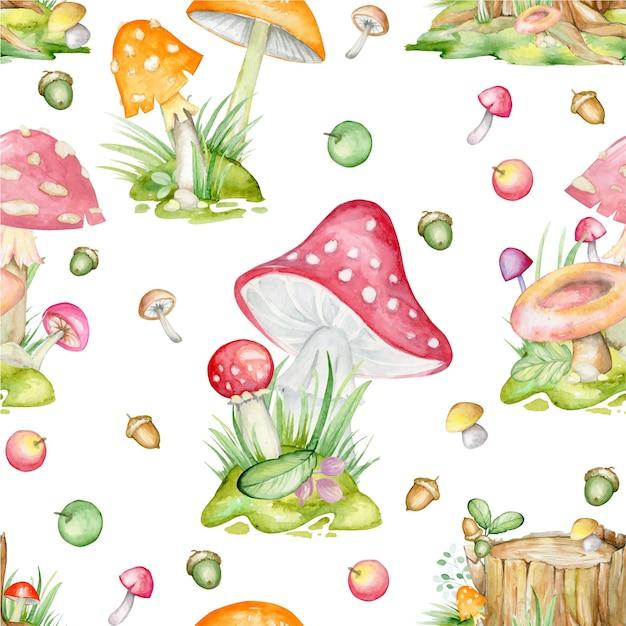 孤立した背景に、シームレスなパターン。キノコ、葉、果物、植物、手描き、水彩画