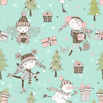 Бесшовный узор на рождественскую зимнюю тему с милыми девушками в стиле каракули.