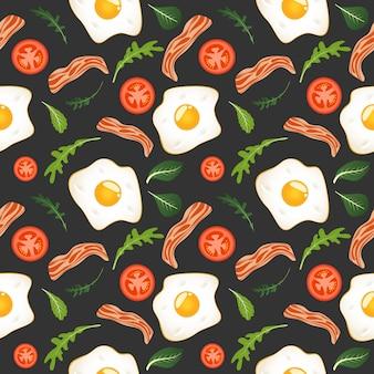 目玉焼き、ベーコン、トマト、レタスと暗闇の中でのシームレスなパターン。