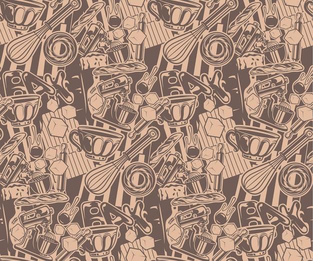 어두운 배경에 대한 홈 베이커리 테마의 원활한 패턴
