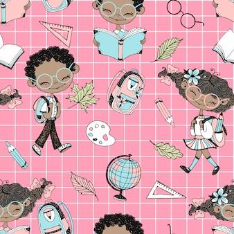 学校の子供たちと学校の付属品と学校をテーマにシームレスパターン。学校に戻る。市松模様の背景。