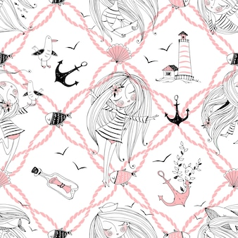 Бесшовный узор на морскую тему с милыми девушками, китами и чайками в милом стиле каракули. вектор.