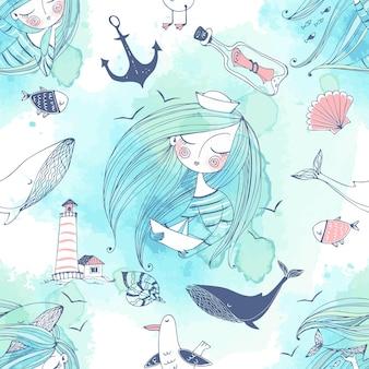 Бесшовный узор на морскую тему с милыми девушками, китами и чайками в милом стиле doodle с акварельными красками. вектор.