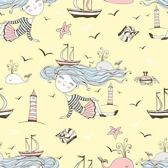 Бесшовный узор на тему лета и моря с милыми девушками на пляже. вектор.