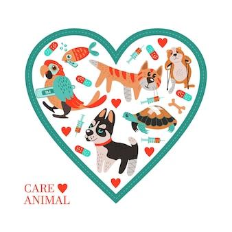 동물 병원 및 동물 보호소에 대한 흰색 배경에 원활한 패턴