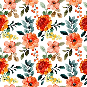 Seamless pattern orange floral and green leaves with watercolor