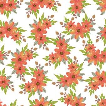 Seamless pattern of orange flowers bouquet