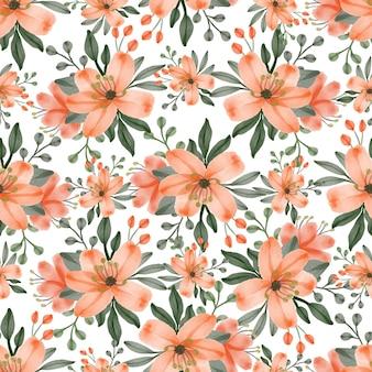 Seamless pattern of orange flowers