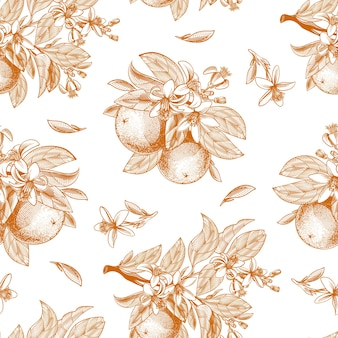 Seamless pattern of orange fruit, leaves, branches and blooming flowers in engraving style