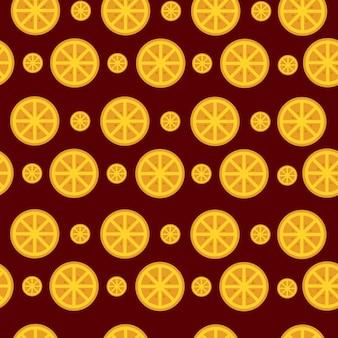 シームレスパターンオレンジ色の果物の背景花柄