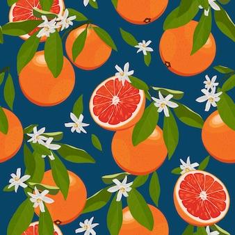 Бесшовные оранжевые фрукты с цветами и листьями