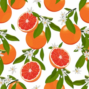 Seamless pattern orange fruits with flowers and leaves. grapefruit