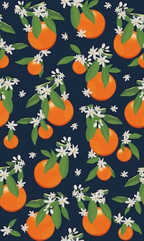 Seamless pattern orange fruits with flowers and leaves
