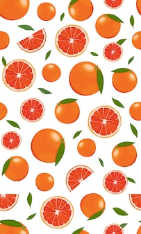 Seamless pattern orange fruits  with leaves