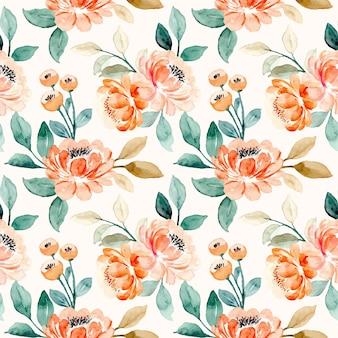 Seamless pattern of orange peach floral watercolor