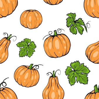 シームレスなパターン、ハロウィーンの手描きのスケッチアートのオレンジ色のカボチャのさまざまな形