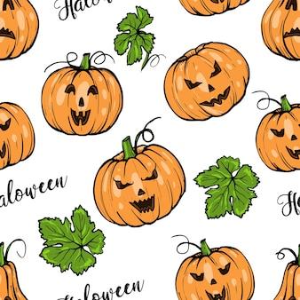 シームレスなパターン、緑の葉の手描きのスケッチアートとハロウィーンのオレンジ色のカボチャのさまざまな形
