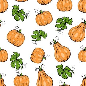 シームレスなパターン、葉とハロウィーンのためのオレンジ色のカボチャのさまざまな形、手描きのスケッチアート