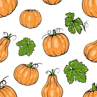 Seamless pattern, orange pumpkin different shapes for halloween hand drawn sketch art