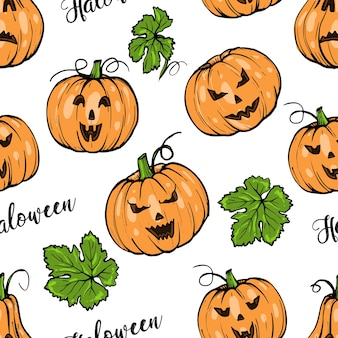 Seamless pattern, orange pumpkin different shapes for halloween with green leaves hand drawn sketch art