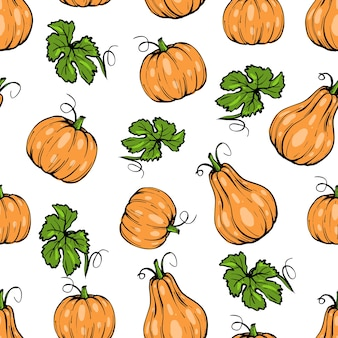 Seamless pattern, orange pumpkin different shapes for halloween with leaves, hand drawn sketch art