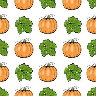 シームレスなパターン、ハロウィーンの葉とオレンジ色のカボチャ、手描きスケッチアート