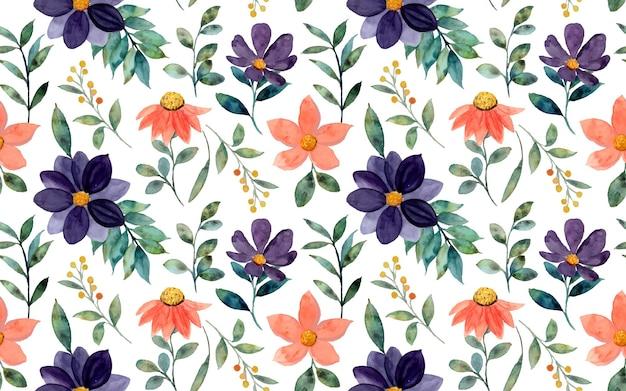 Seamless pattern of orange purple floral watercolor