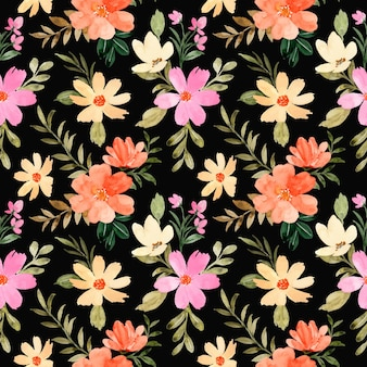 Seamless pattern of orange yellow flower watercolor with black background