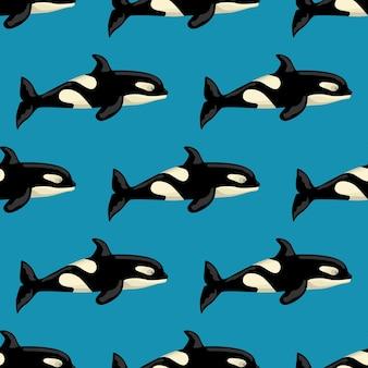 Бесшовные модели orca на синем фоне. шаблон мультипликационного персонажа океана для детей.
